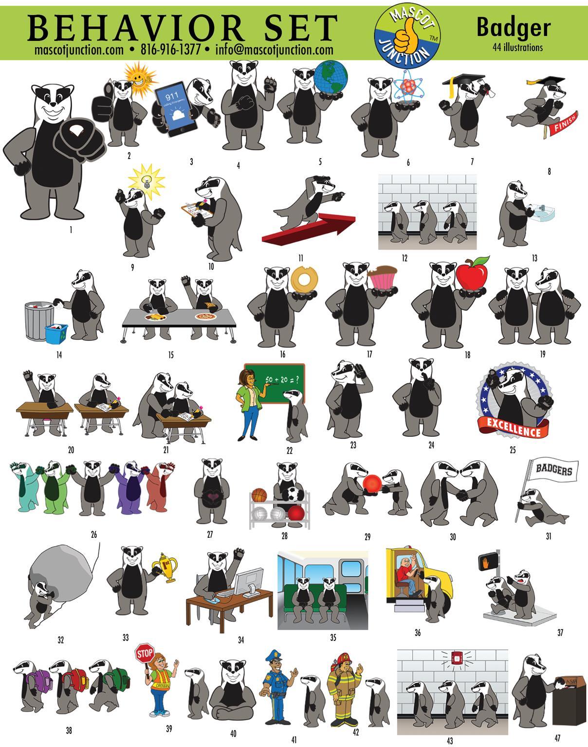Badger Mascot Clip Art Graphics