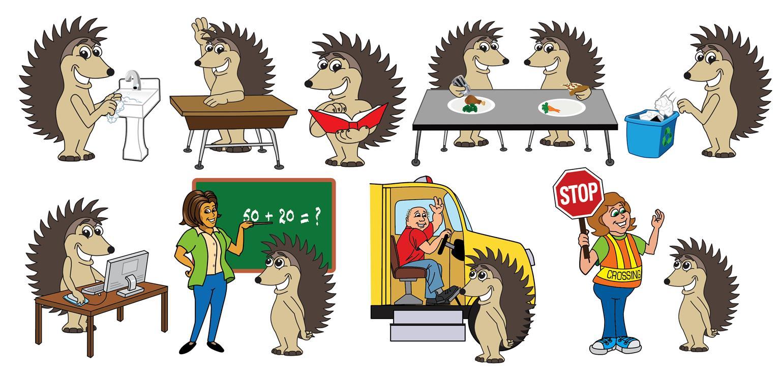 edgehog Mascot Clip Art Illustrations