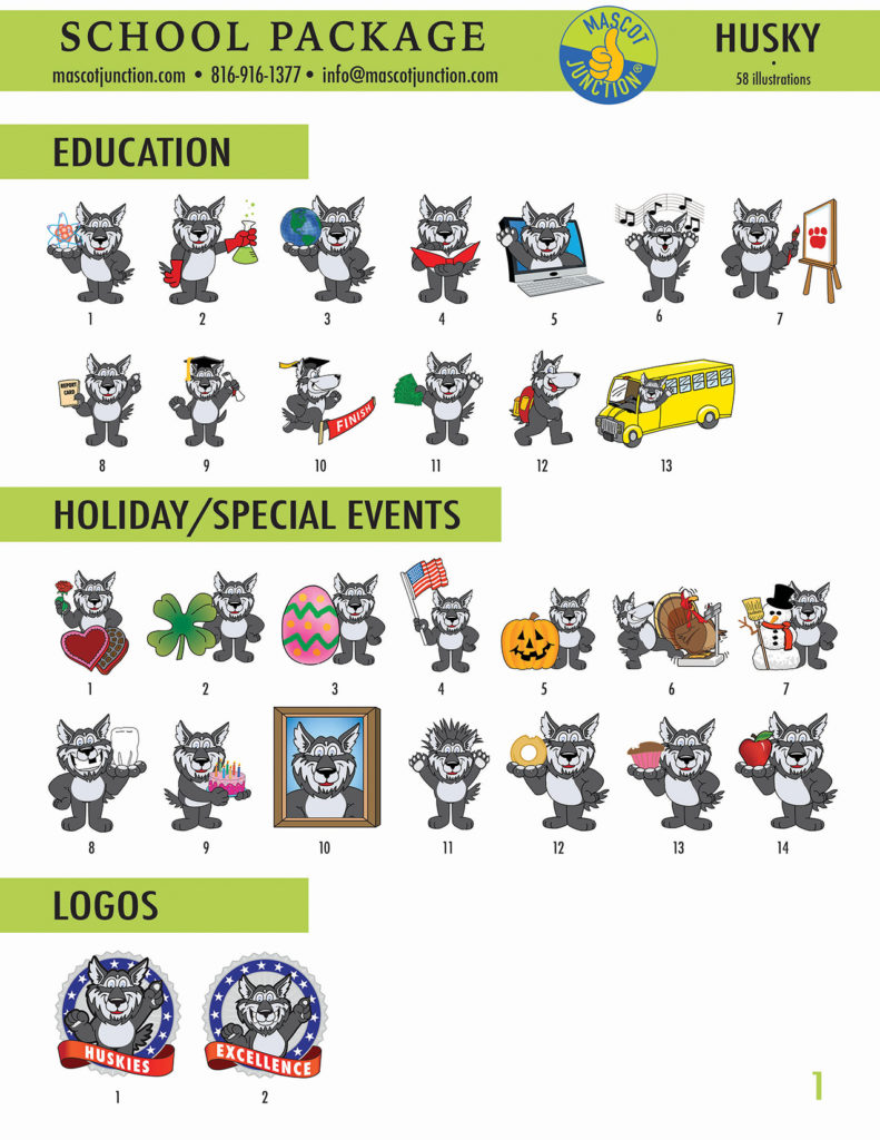 Gray Wolf Mascot Clip Art School Set