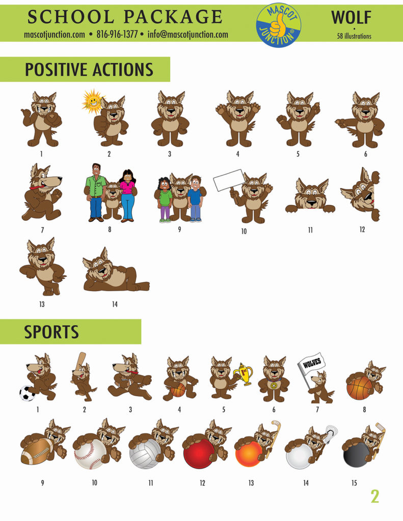 Wolf Mascot Clip Art School Set 2
