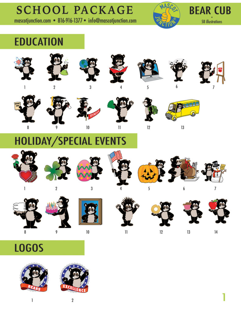 Black Bear Cub Mascot Clip Art School 1