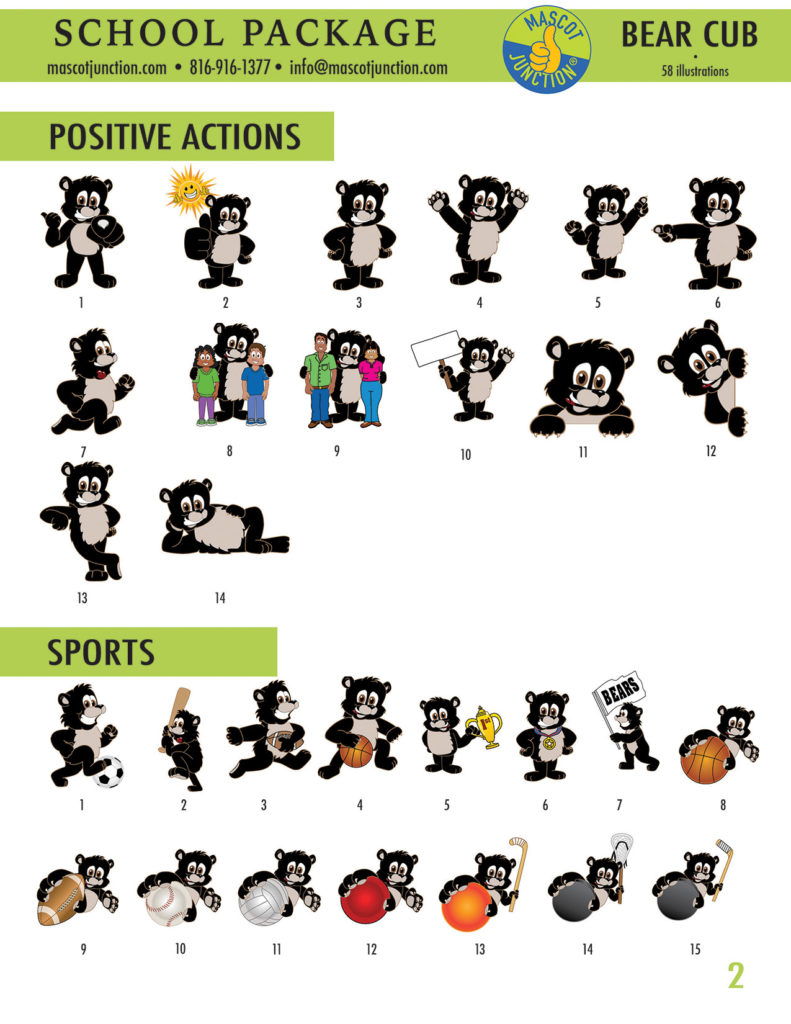 Black Bear Cub Mascot Clip Art School 2