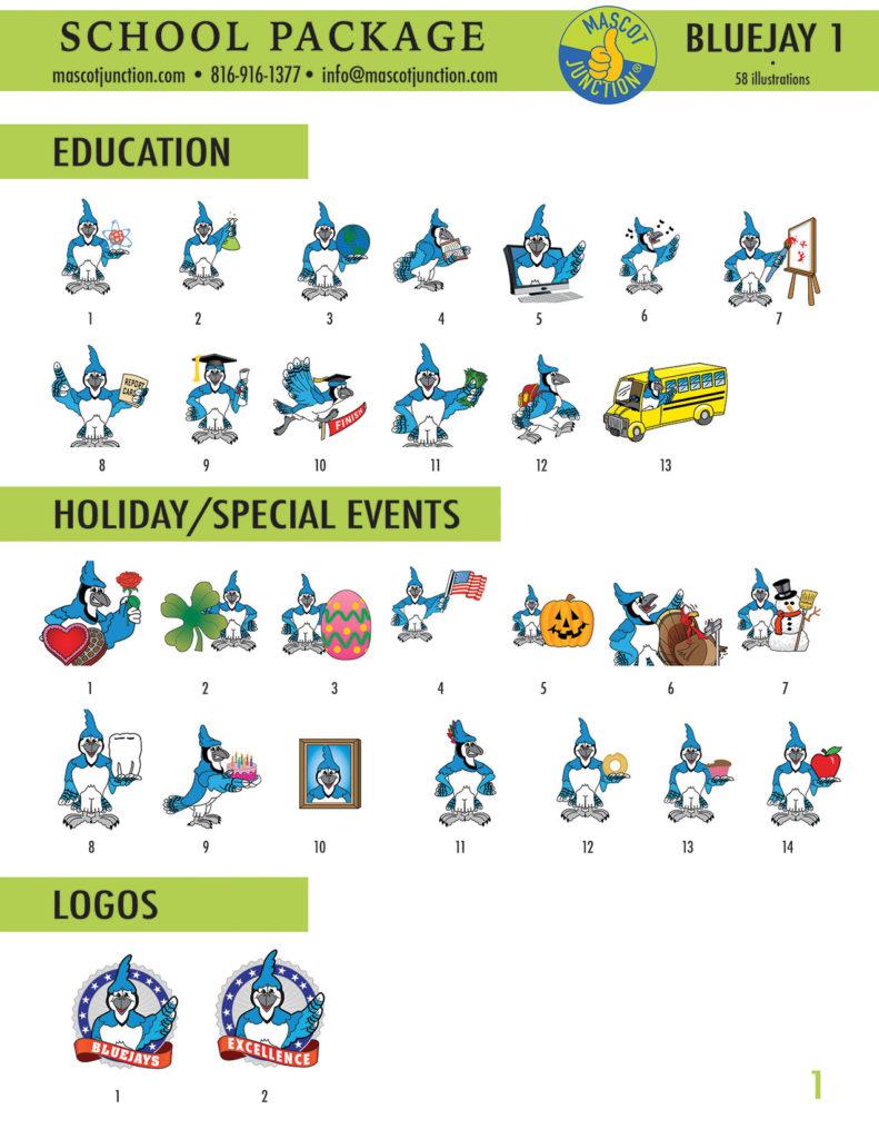 Blue Jay 1 Mascot Clip Art School 1