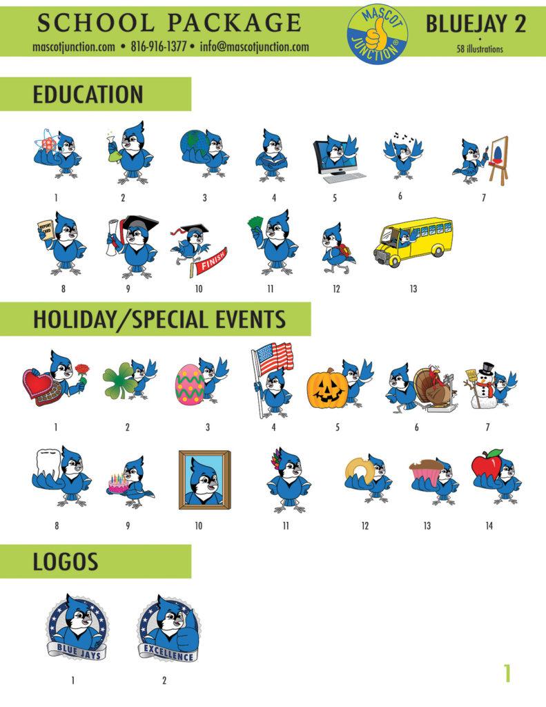 Blue Jay 2 Mascot Clip Art School 1
