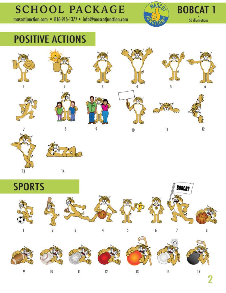 Bobcat 1 Mascot Clip Art School 2