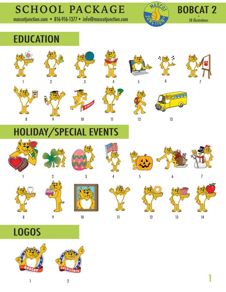 Bobcat 2 Mascot Clip Art School 1