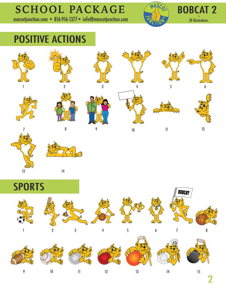 Bobcat 2 Mascot Clip Art School 2