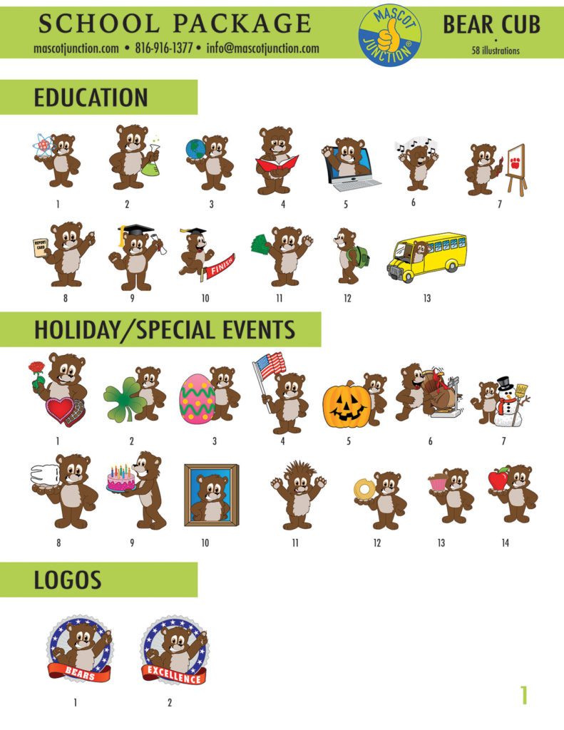 Brown Bear Cub Mascot Clip Art School 1