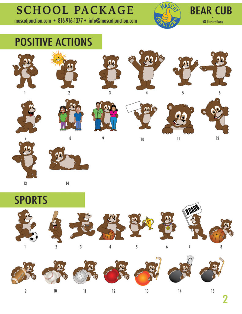 Brown Bear Cub Mascot Clip Art School 2