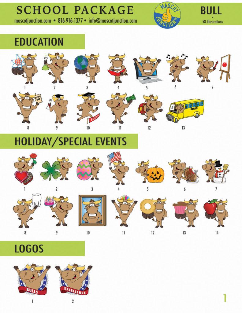 Bull Longhorn Mascot Clip Art School 1