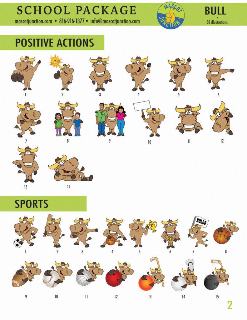 Bull Longhorn Mascot Clip Art School 2