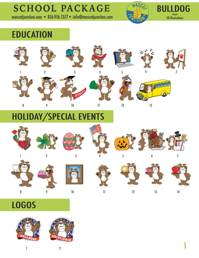 Bulldog Brown Mascot Clip Art School 1