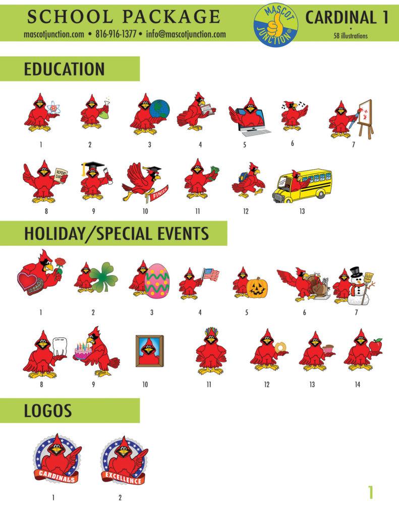 Cardinal 1 Mascot Clip Art School 1