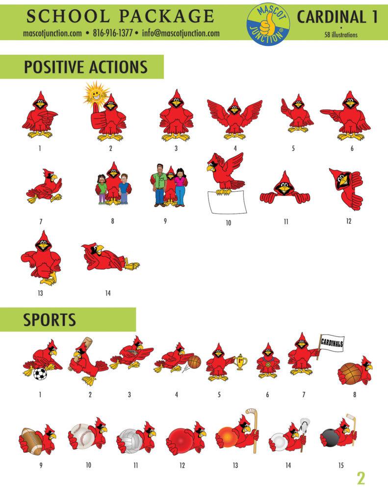 Cardinal 1 Mascot Clip Art School 2