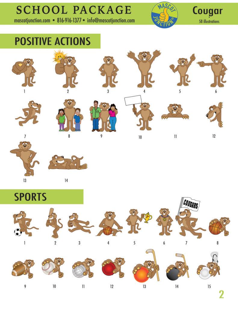 Cougar Mascot Clip Art School 2