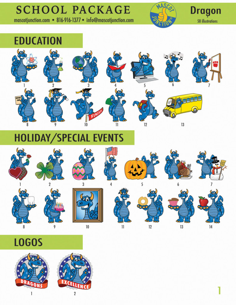 Dragon Blue 2 Mascot Clip Art School 1