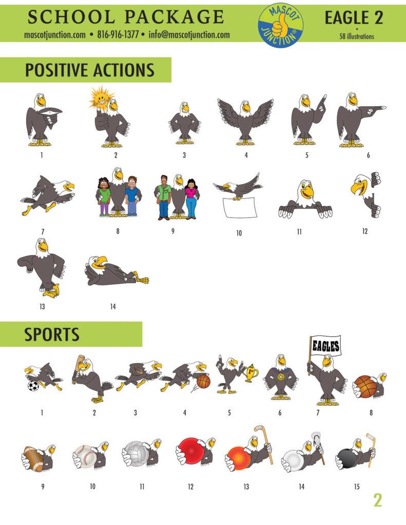 Eagle 2 Mascot Clip Art School 2