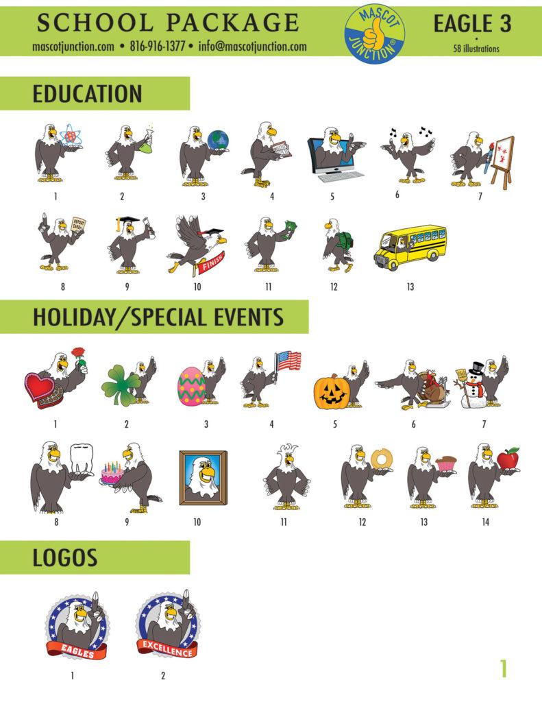 Eagle 3 Mascot Clip Art School 1