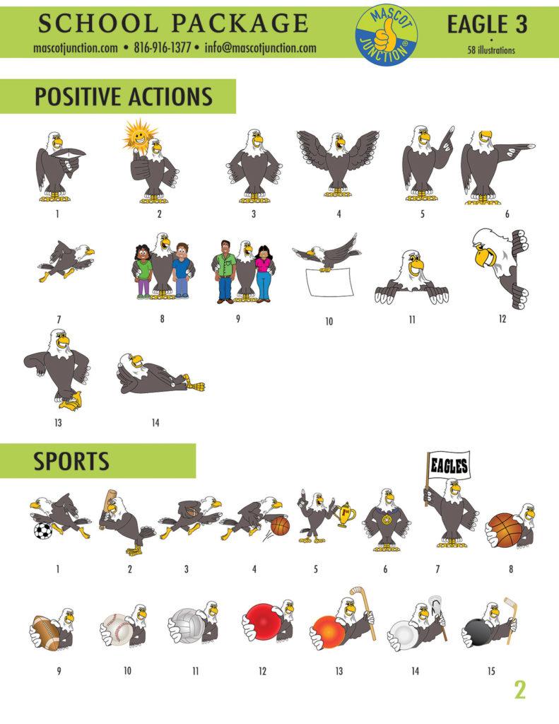 Eagle 3 Mascot Clip Art School 2