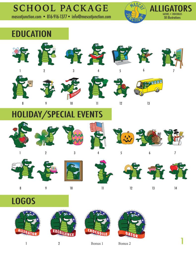 Gator Mascot Clip Art School 1