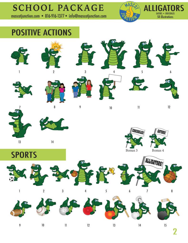 Gator Mascot Clip Art School 2