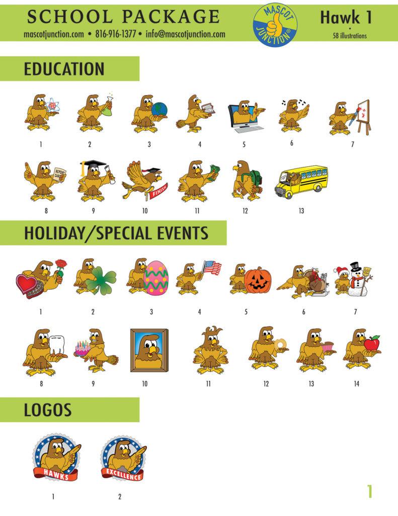 Hawk 1 Mascot Clip Art School 1