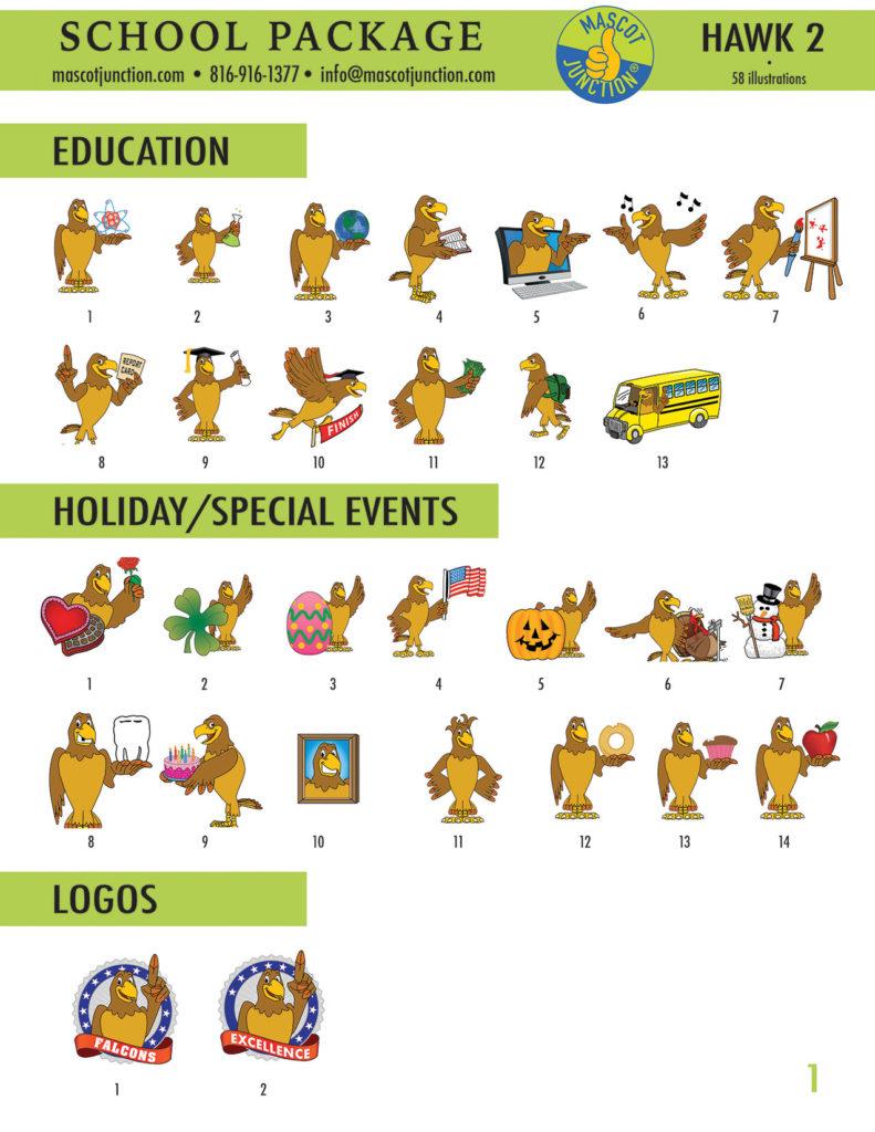 Hawk 2 Mascot Clip Art School 1