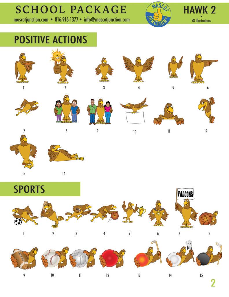 Hawk 2 Mascot Clip Art School 2