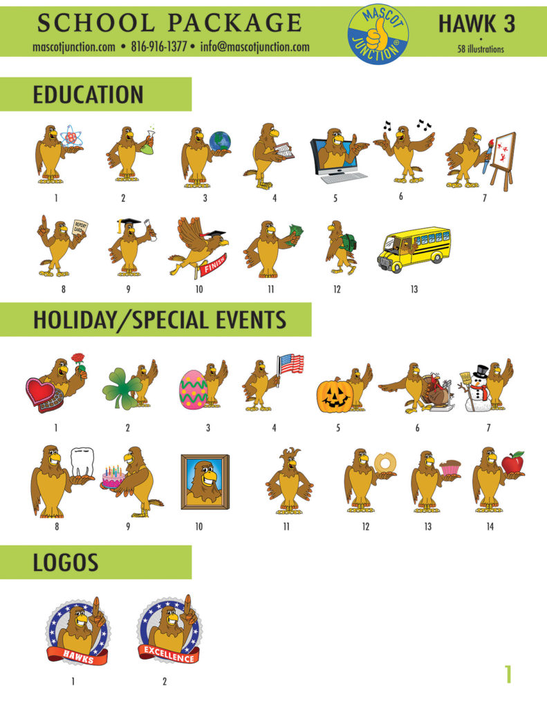 Hawk 3 Mascot Clip Art School 1