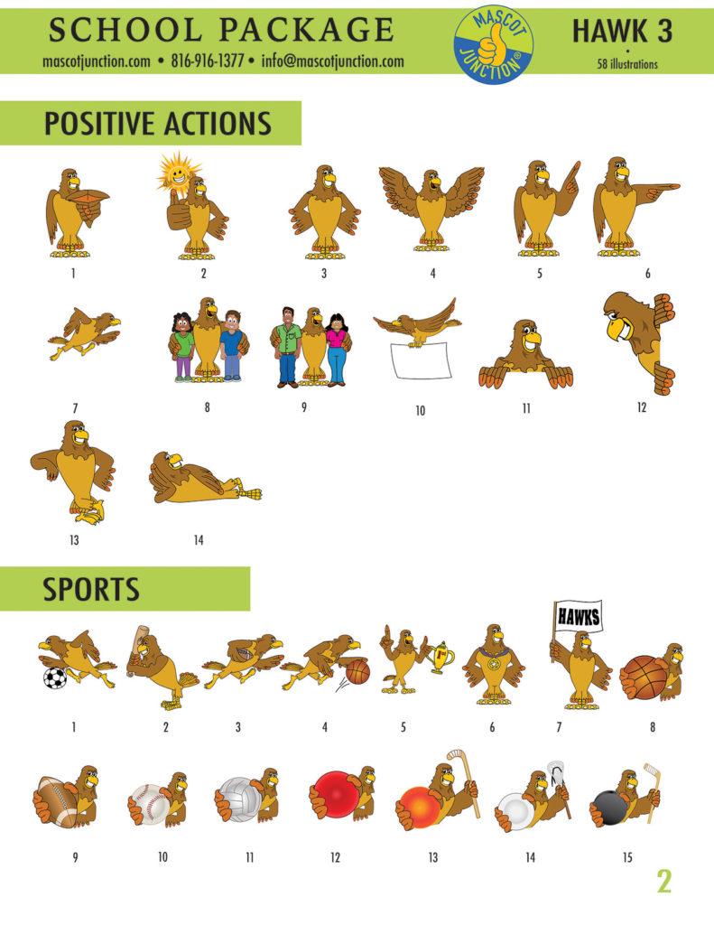 Hawk 3 Mascot Clip Art School 2