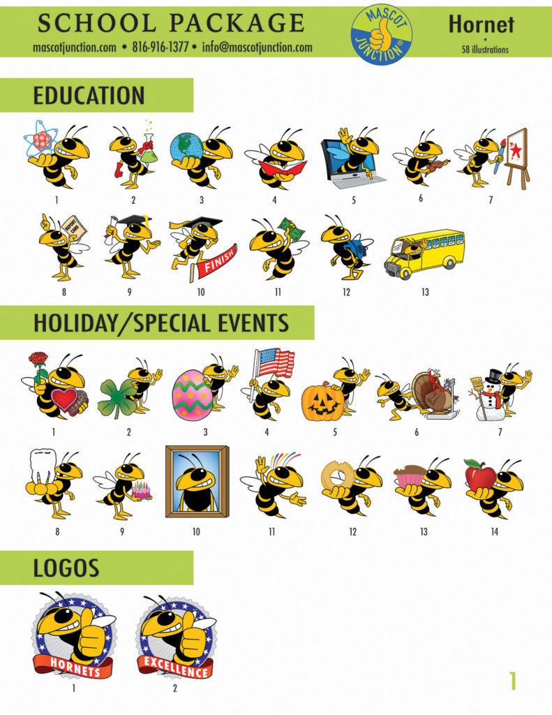 Hornet Mascot Clip Art School 1