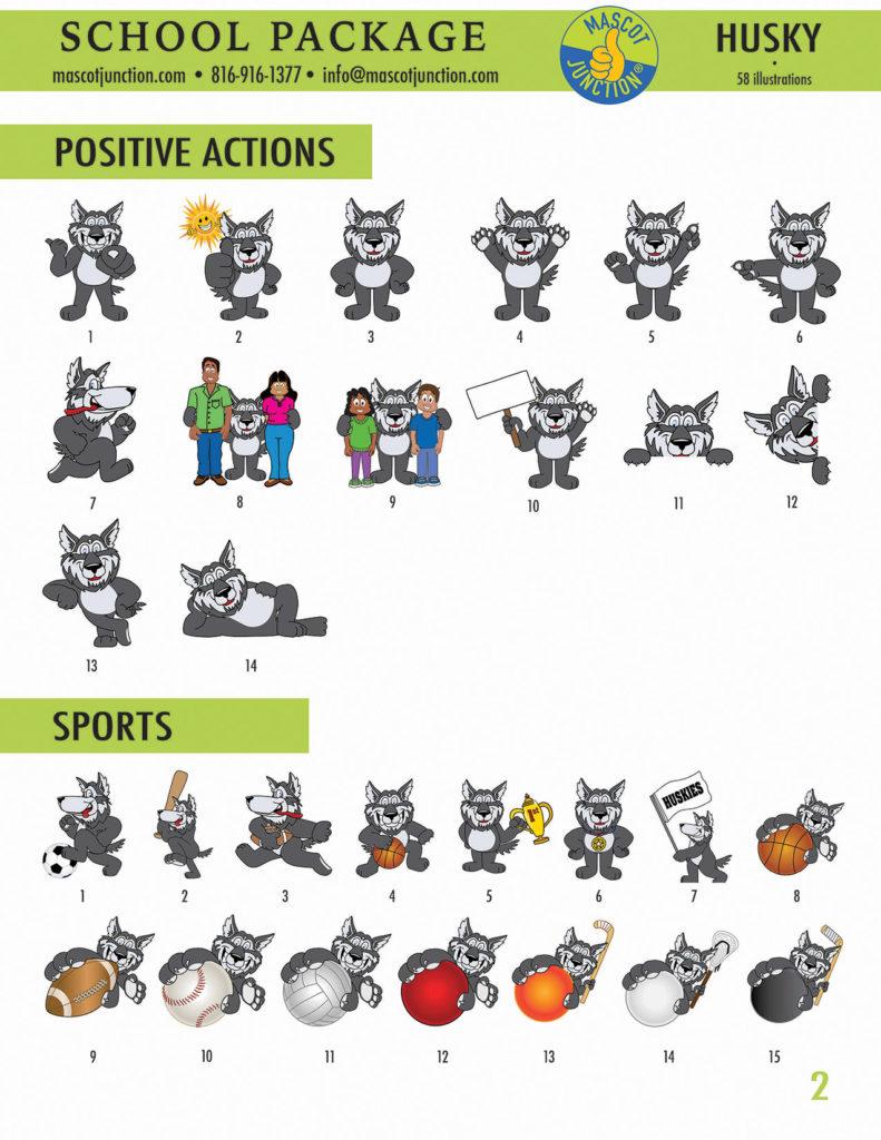 Husky Mascot Clip Art School 2