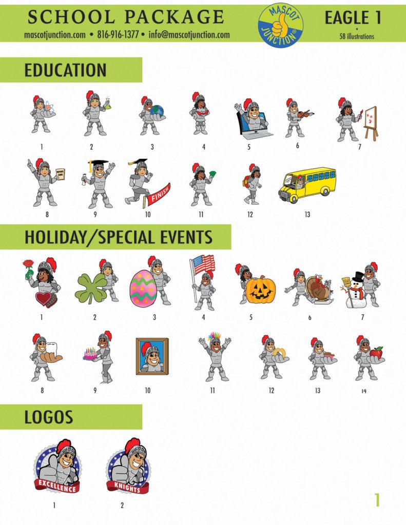 Knight Mascot Clip Art School 1