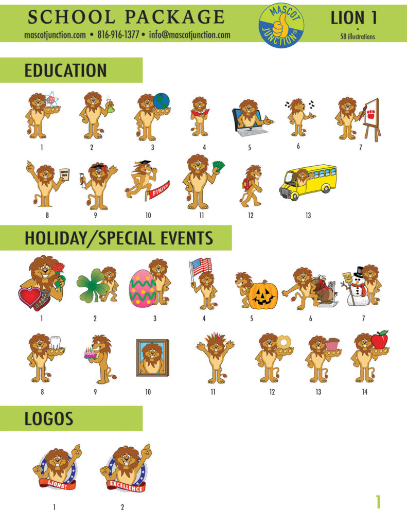 Lion 1 Mascot Clip Art School 1
