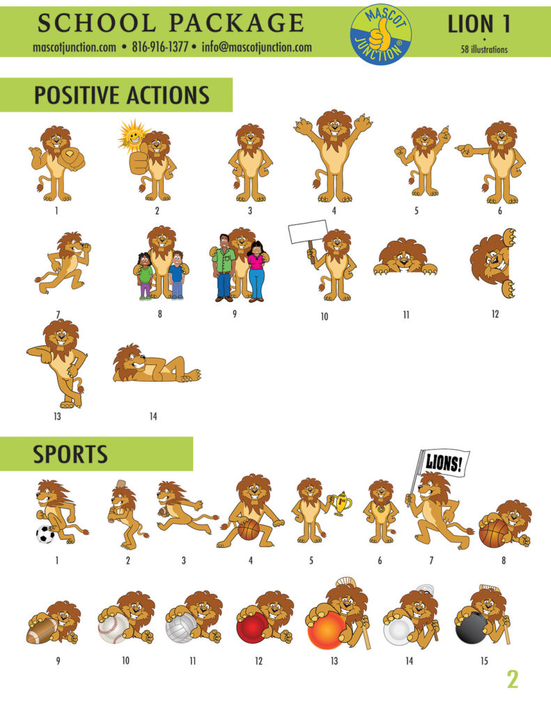 Lion 1 Mascot Clip Art School 2