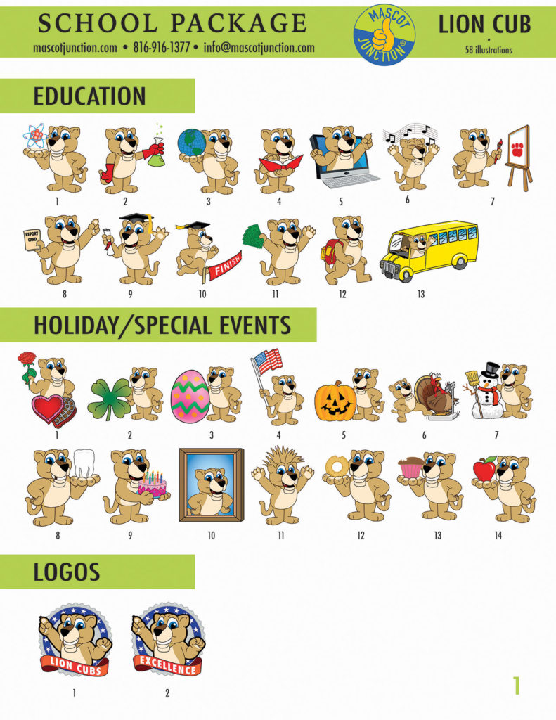 Lion Cub Mascot Clip Art School 1