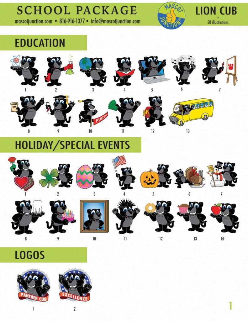 Panther Cub Mascot Clip Art School 1