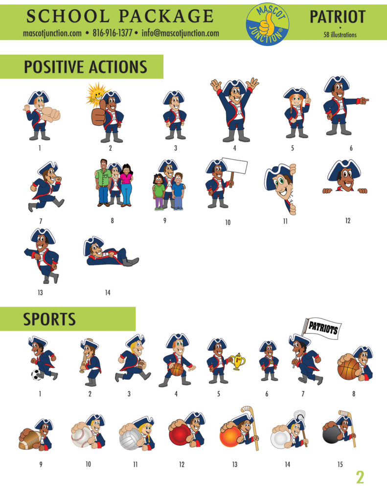 Patriot Mascot Clip Art School 2