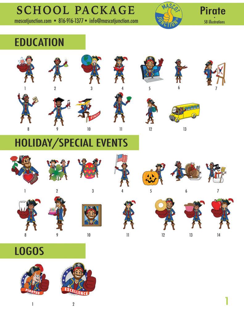 Pirate Mascot Clip Art School 1