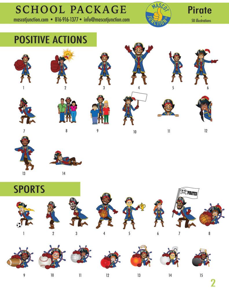 Pirate Mascot Clip Art School 2