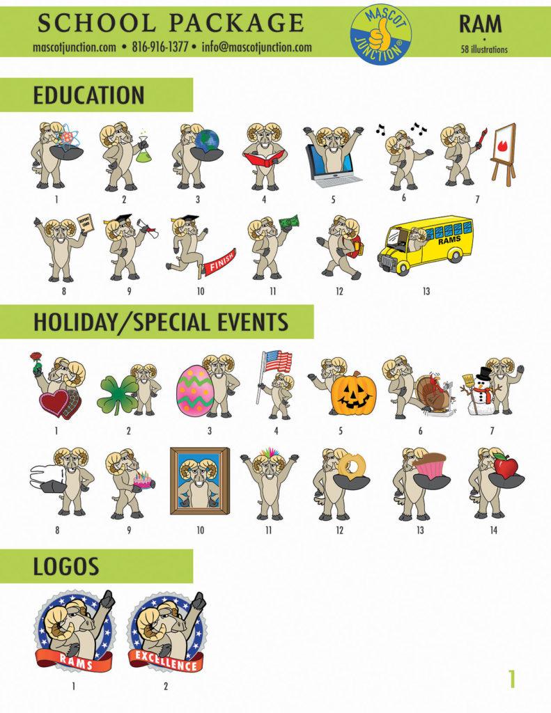 Ram Mascot Clip Art School 1