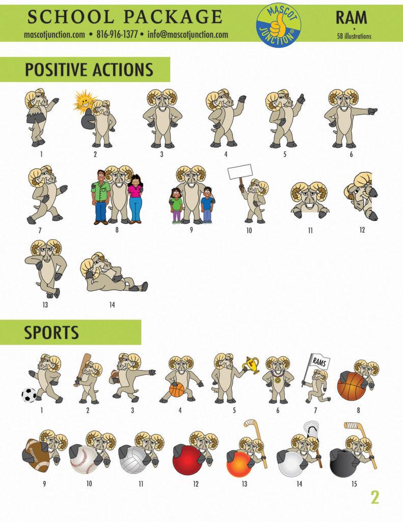 Ram Mascot Clip Art School 2
