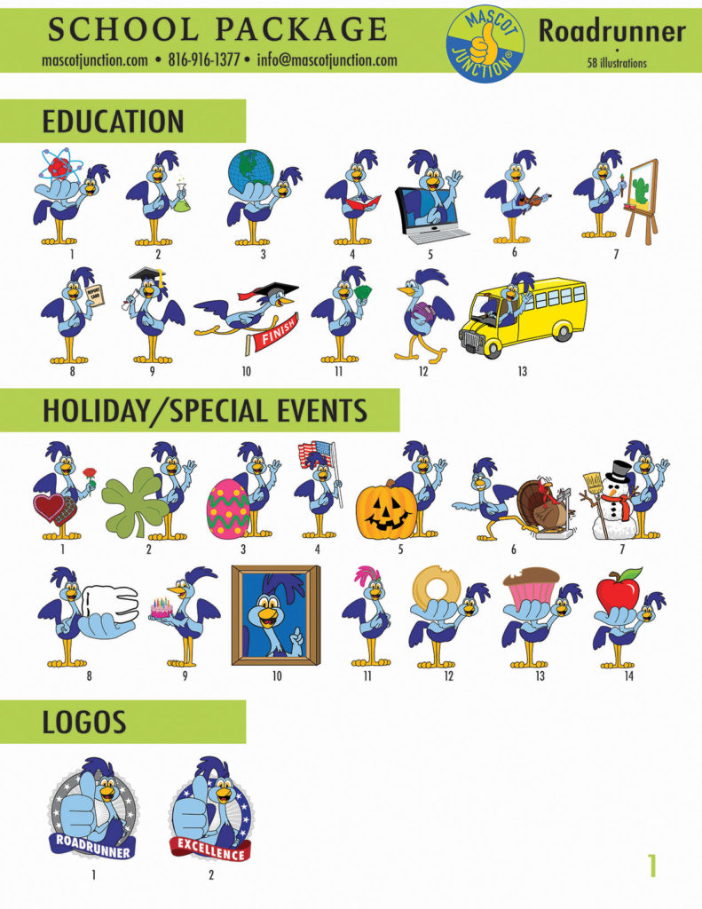 Roadrunner Mascot Clip Art School 1