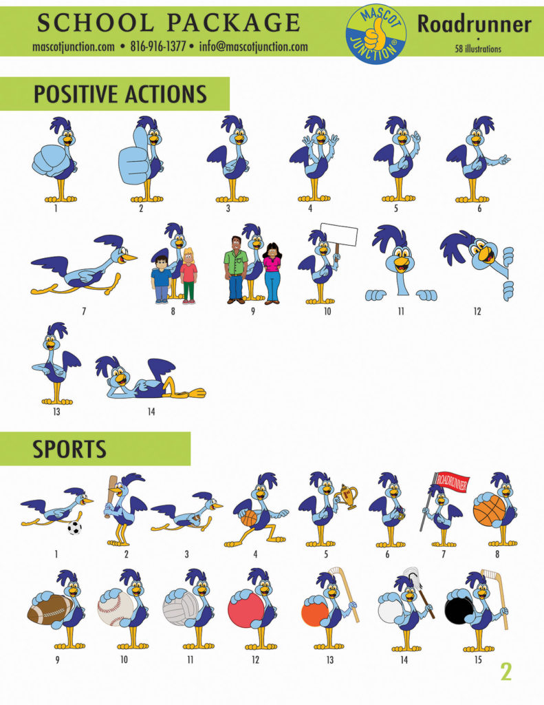 Roadrunner Mascot Clip Art School 2
