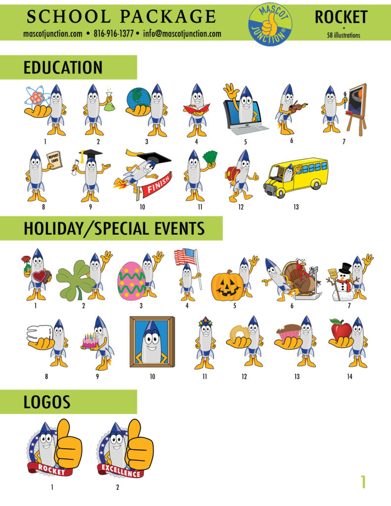 Rocket Mascot Clip Art School 1