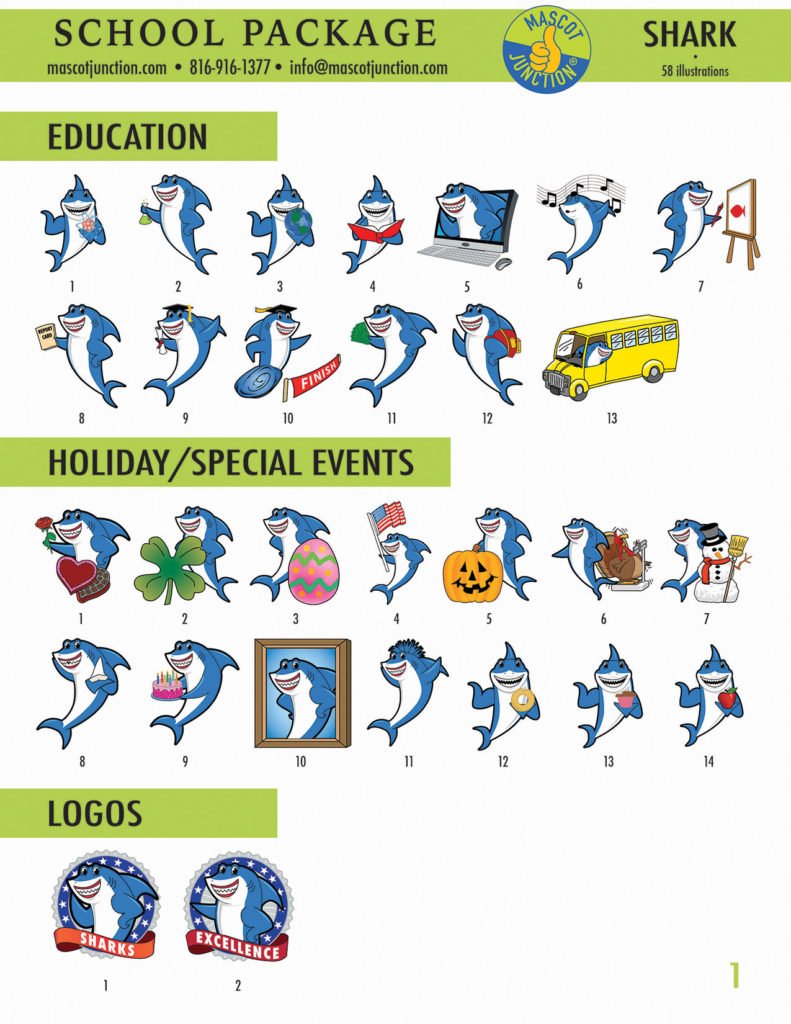 Shark Mascot Clip Art School 1