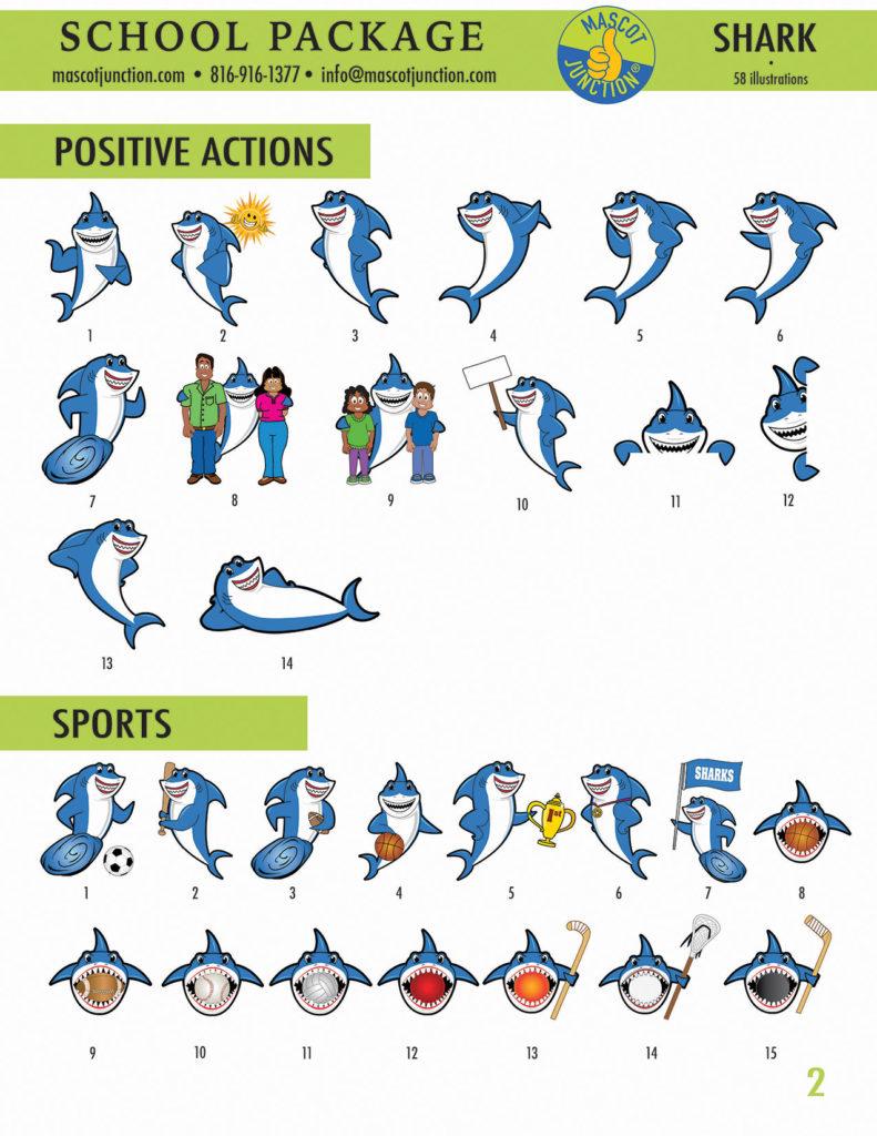 Shark Mascot Clip Art School 2