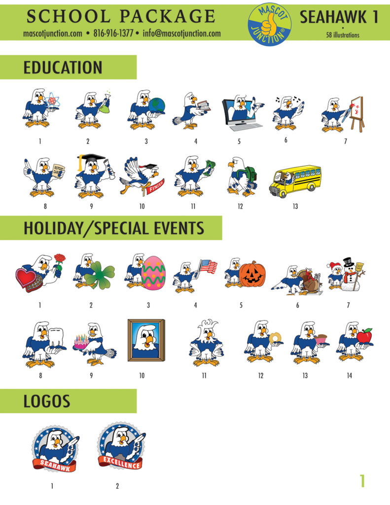 Sky Hawk Mascot Clip Art School 1
