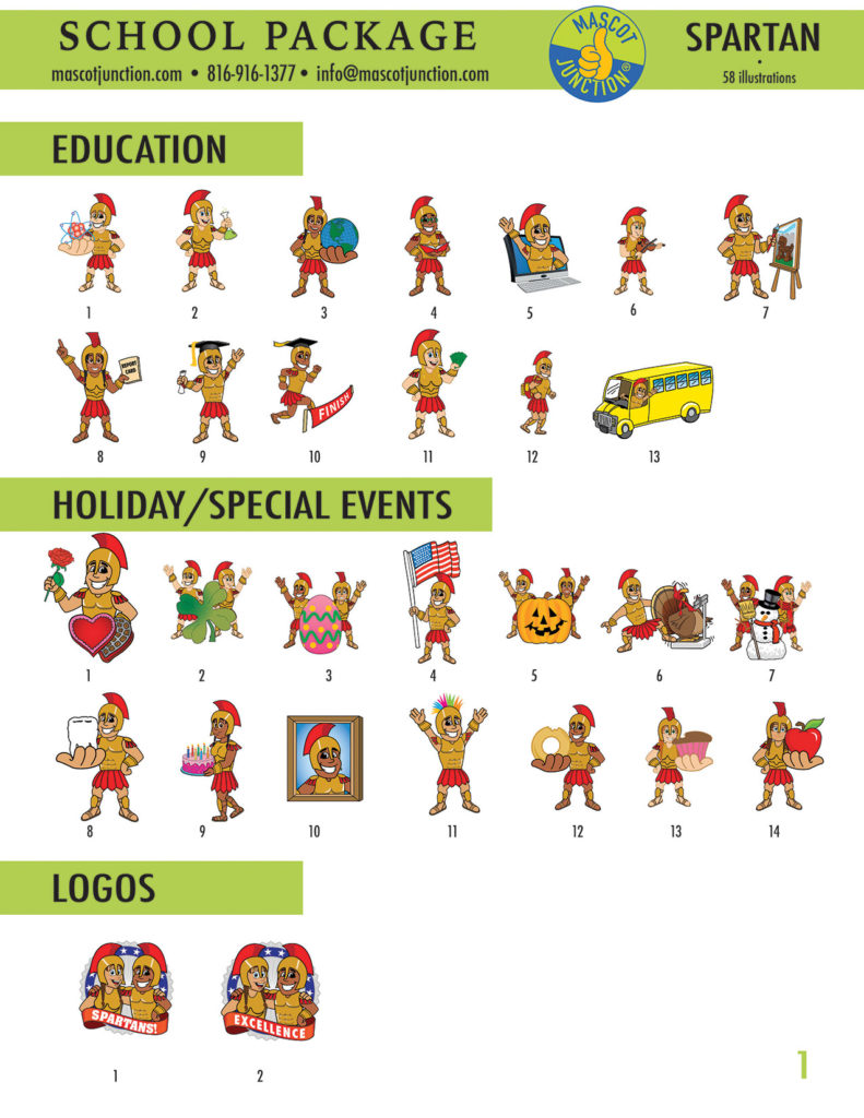 Spartan Mascot Clip Art School 1