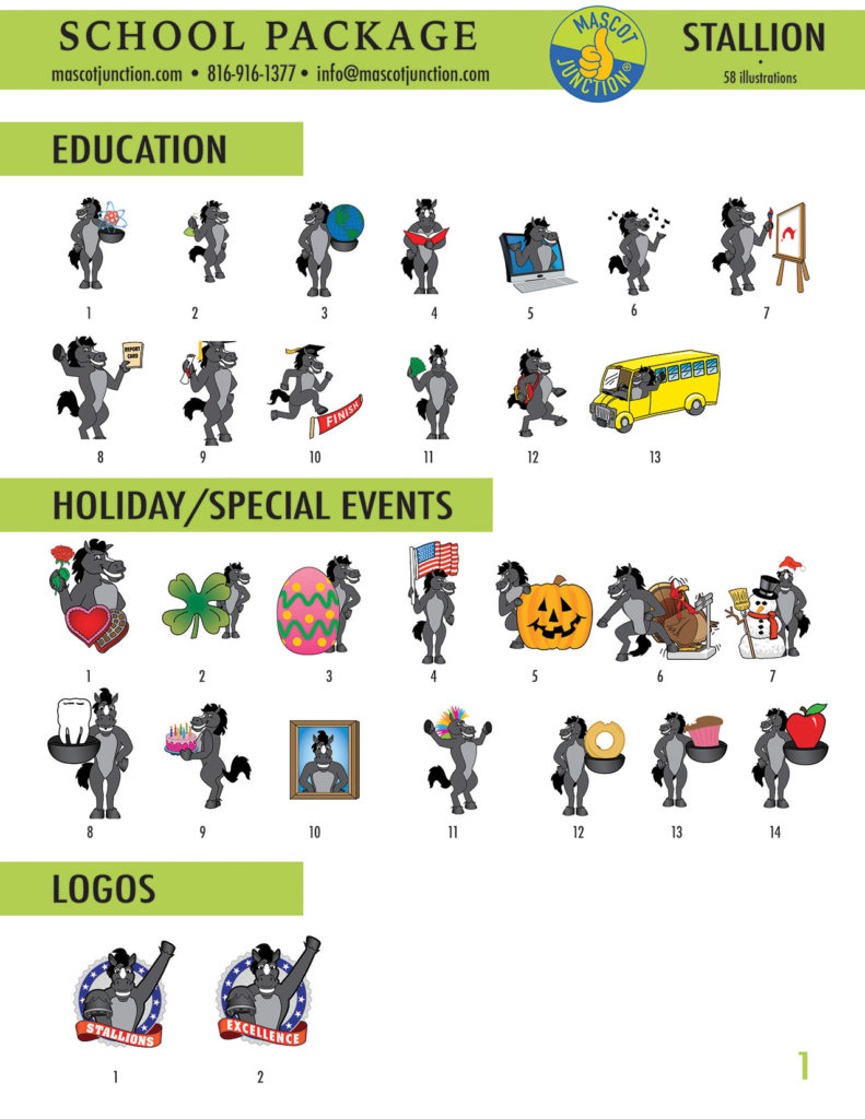 Stallion Mascot Clip Art School 1